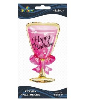 Купить Шар фольг. Pelican, бокал Happy Birthday, 89см (индивидуальная упак.)