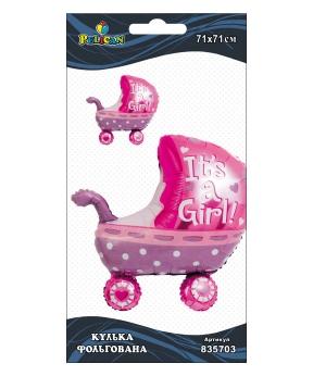Купить Шар фольг. Pelican, коляска для девочки розовая, 71см (индивидуальная упак.)