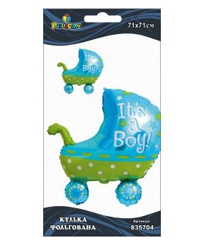 Купить Шар фольг. Pelican, коляска для мальчика голубая, 71см (индивидуальная упак.)
