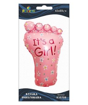 Купить Шар фольг. Pelican, ножка It's a Girl, 69см (индивидуальная упак.)