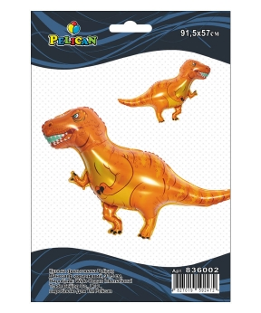 Купить Шар фольг. Pelican, динозавр коричневый, 92см (индивидуальная упак.)