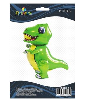 Купить Шар фольг. Pelican, динозавр ходячий зеленый, 76см (индивидуальная упак.)