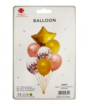 Купить Набор с 7  шариков, золото с розовым
