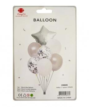 Купить Набор с 7  шариков, серебро
