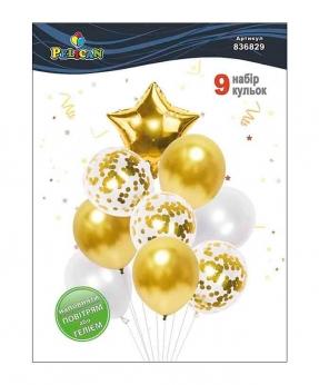 Купить Набор 9  шариков Pelican, золотая звездочка