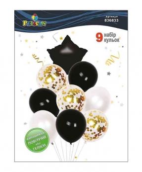 Купить Набор 9  шариков Pelican, звездочка черная с золотом
