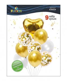 Купить Набор 9  шариков Pelican, золотое сердечко