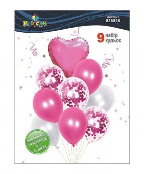 Купить Набор 9  шариков Pelican, розовое сердечко