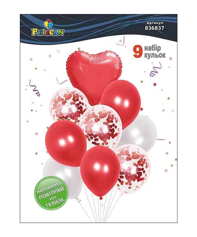 Набор 9  шариков Pelican, красное сердечко