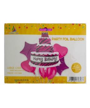 Купить Набор с 5 шаров, торт Happy Birthday
