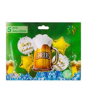 Купить Набор из 5 шаров фольгированных,  пиво