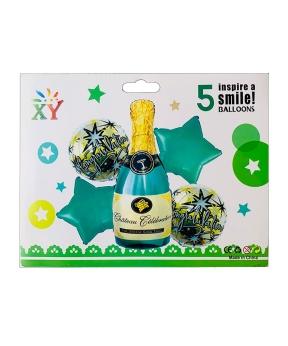 Купить Набор с 5 шаров фольгированных, бутылка шампанского