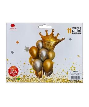 Купить Набор из 11 шаров, корона золотая (хром)