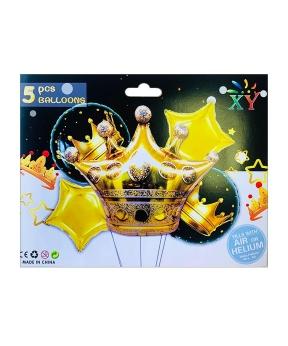 Купить Набор из 5 шаров фольгированных, корона золотая