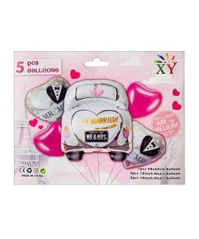 Купить Набор из 5 шаров фольгированных, свадебное авто