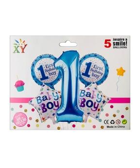 Купить Набор из 5 шаров фольгированных, 1 годик для мальчика