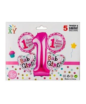 Купить Набор из 5 шаров фольгированных, 1 годик для девочки