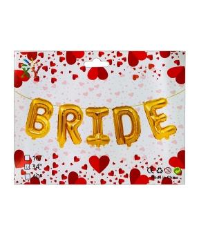 Купить Набор с 5  шаров фольгированных, BRIDE 80см,  золото