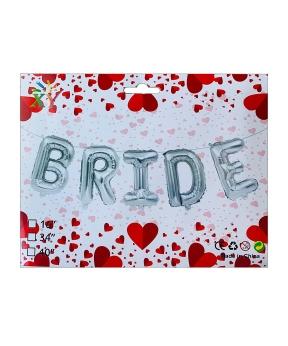 Купить Набор с 5  шаров фольгированных, BRIDE 80см,  серебро