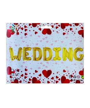 Купить Набор с 7 шаров фольгированных, WEDDING  80см,  золото