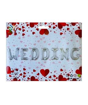 Купить Набор с 7 шаров фольгированных, WEDDING  80см,  серебро