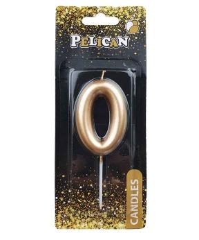 """Купить Свеча для торта Pelican  """"0"""" золото 6см"""