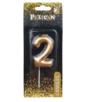 """Купить Свеча для торта Pelican """"2"""" золото 6см"""