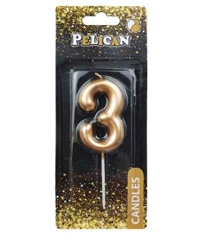 """Купить Свеча для торта Pelican """"3"""" золото 6см"""