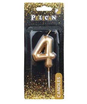 """Купить Свеча для торта Pelican """"4"""" золото 6см"""