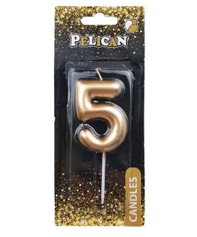 """Купить Свеча для торта Pelican """"5"""" золото 6см"""