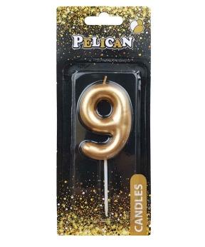 """Купить Свеча для торта Pelican """"9"""" золото 6см"""