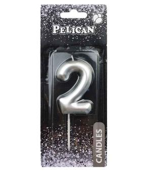 """Купить Свеча для торта Pelican """"2"""" серебро  6см"""