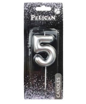 """Купить Свеча для торта Pelican """"5"""" серебро  6см"""