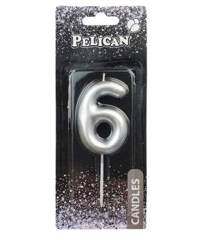 """Купить Свеча для торта Pelican """"6"""" серебро  6см"""