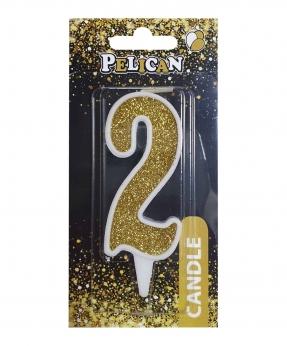 """Купить Свічка для торта цифра """"2"""" ЗОЛОТО  7см, TM Pelican"""