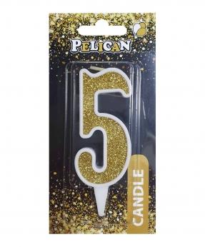 """Купить Свічка для торта цифра """"5"""" ЗОЛОТО  7см, TM Pelican"""