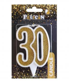 """Купить Свічка для торта цифра """"30"""" ЗОЛОТО  7см, TM Pelican"""