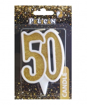 """Купить Свічка для торта цифра """"50"""" ЗОЛОТО  7см, TM Pelican"""
