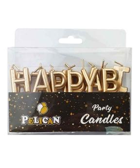 Купить Набор свечей для торта Happy birthday, золото