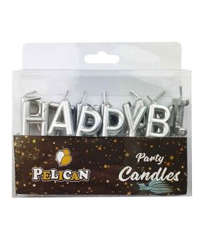 Купить Набор свечей для торта Happy birthday, серебро