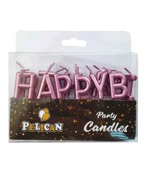Купить Набор свечей для торта Happy birthday, розовое золото
