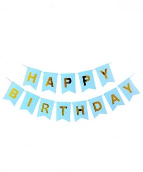 Купить Гирлянда-флажки HAPPY BIRTHDAY 16см, голубой