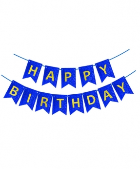 Купить Гирлянда-флажки HAPPY BIRTHDAY 16см, синий