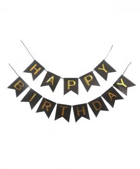 Купить Гирлянда-флажки HAPPY BIRTHDAY 16см, черный