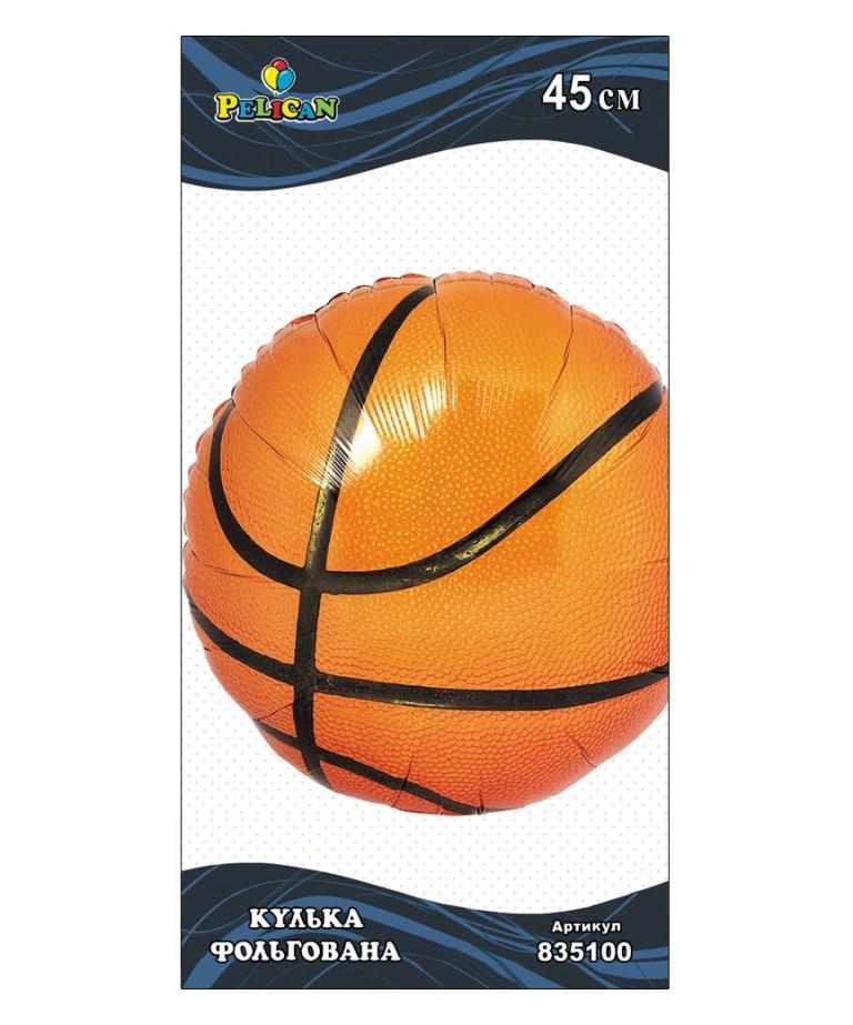 Шар фольг. Pelican, баскетбольный  мяч, 45см (индивидуальная упак.)