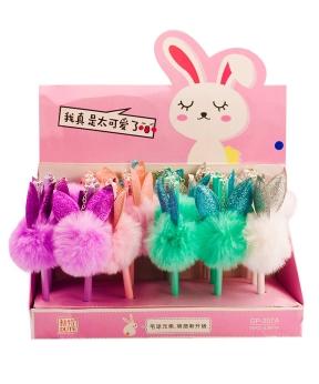 Купить Ручка детская гелевая синяя GP-207A меховые ушки зайца