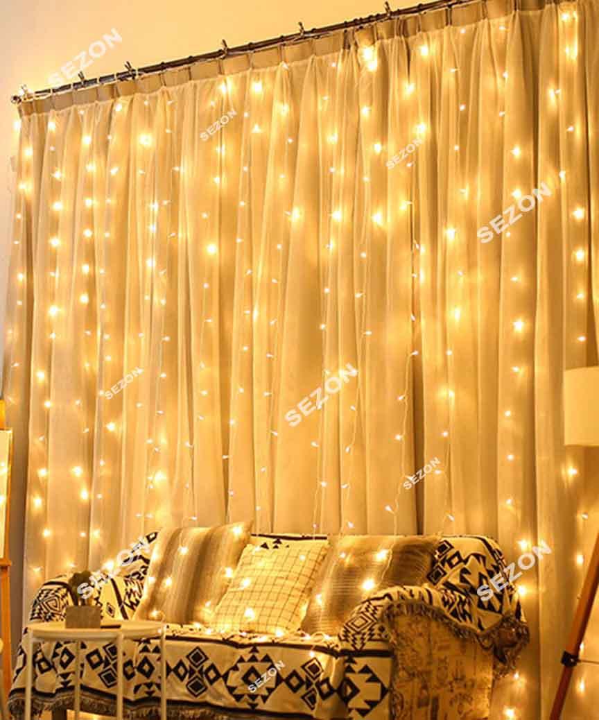 Штора  400 LED 3м*2м, прозор/провід  2,2мм, білий теплий (статичний режим) (20)