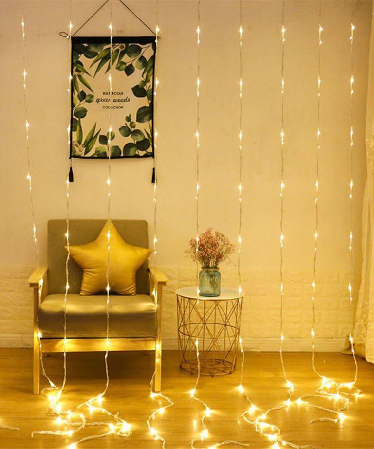 Водоспад 400 LED 3м*2м, (8 режимів+ статичн), теплий білий