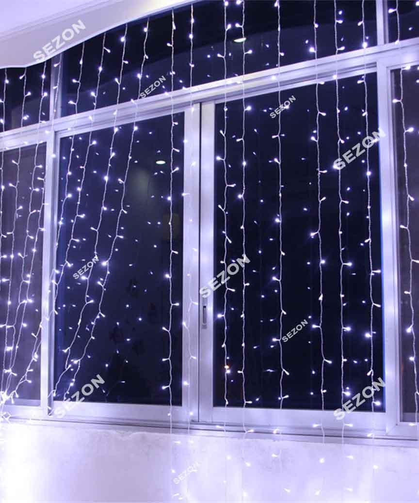 Штора 600 LED 3м*3м, прозор/провід  2,2мм, білий  (статичний режим) (20)