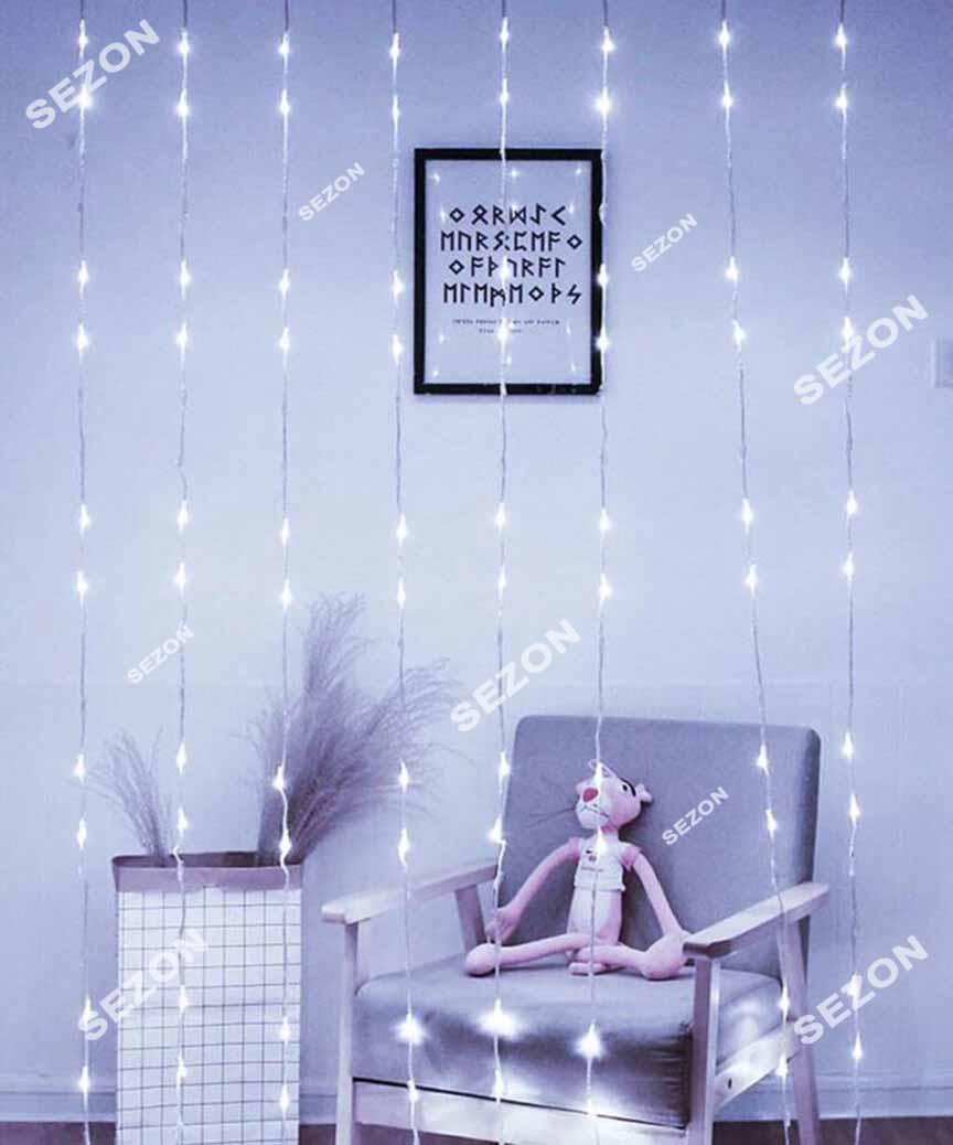Водоспад 400 LED 3м*2м, (8 режимів+ статичн), білий